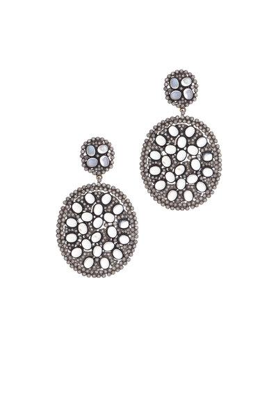 Loren Jewels - 18K Gold & Silver Diamond & Moonstone Earrings
