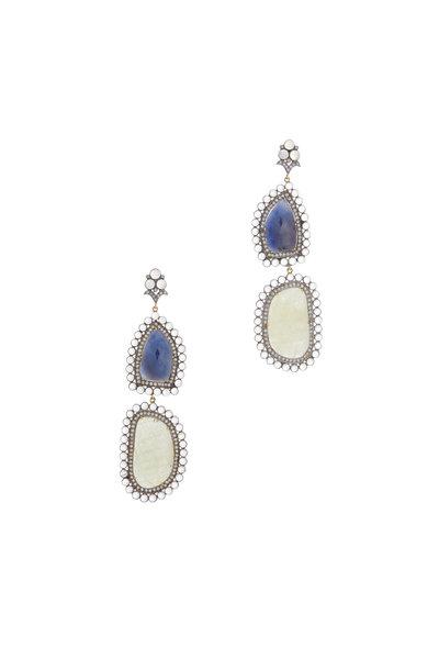 Loren Jewels - 14K Gold Sapphire & Moonstone Drop Earrings