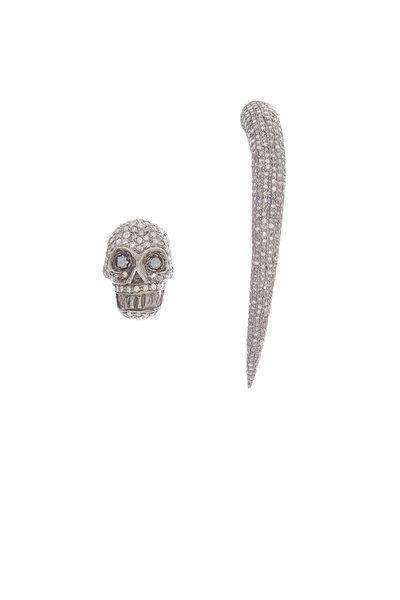 Loren Jewels - 14K Gold & Silver Pavé Diamond Skull Earrings