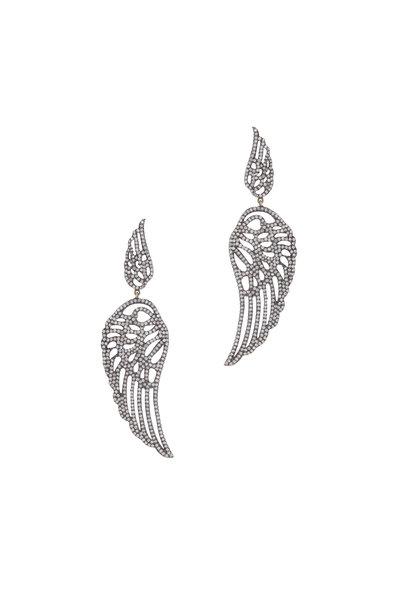Loren Jewels - 14K Gold & Silver Pavé Diamond Wing Earrings