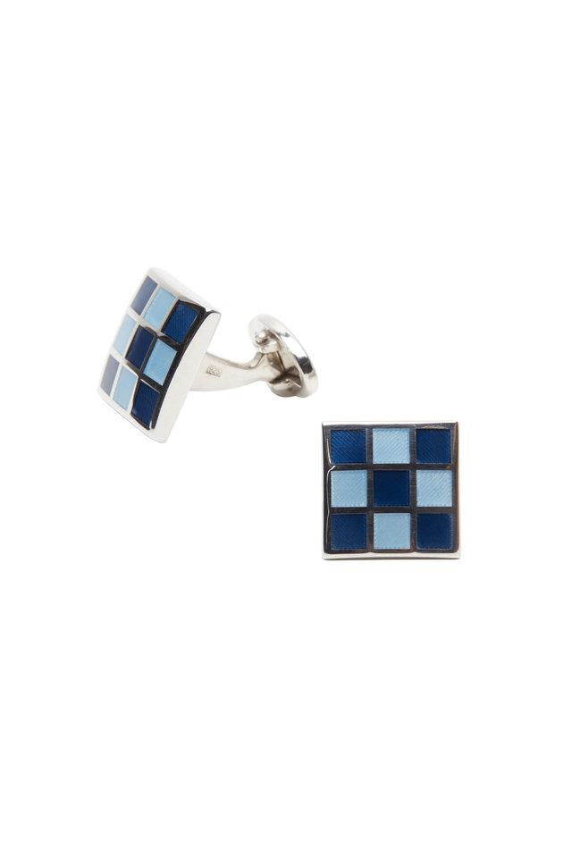 Tonal Blue Checkered Square Cuff Links