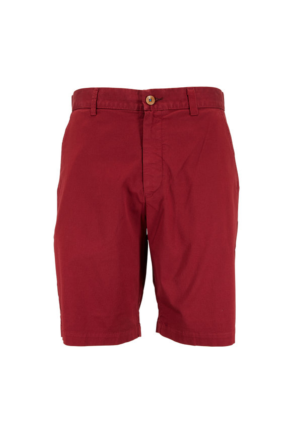 Robert Graham Pioneer Red Stretch Twill Shorts