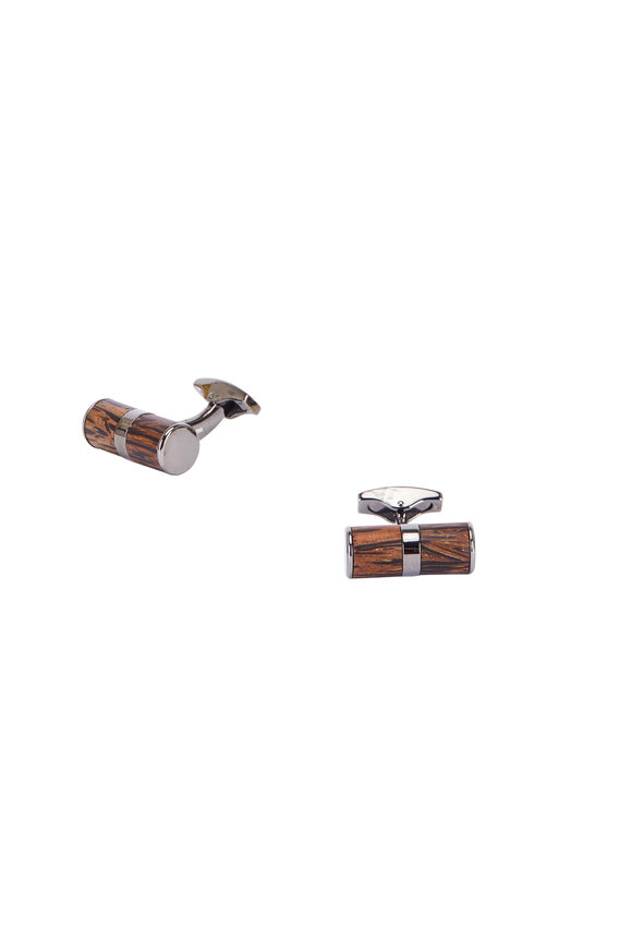 Tateossian Montecarlo Dark Brown Wood & Silver Cuff Links