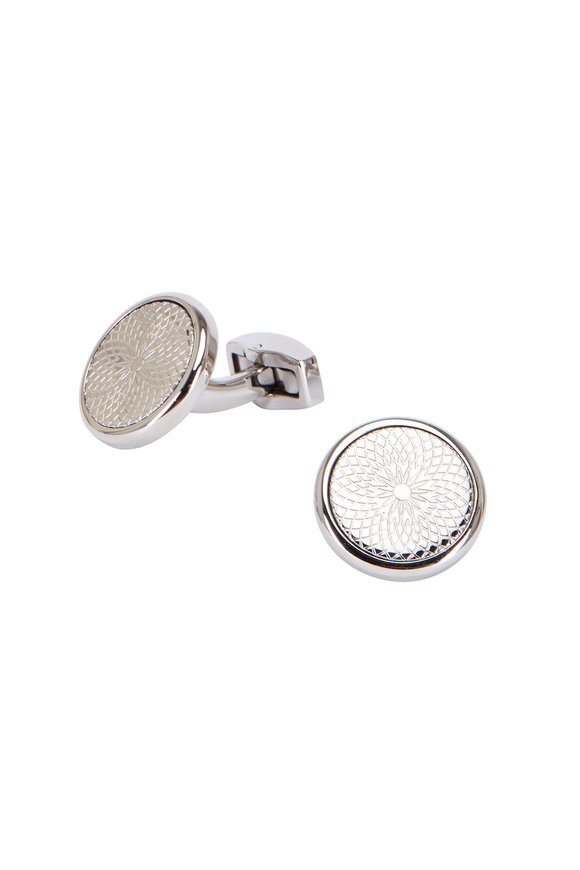 Tateossian Rotondo Guilloché Stainless Steel Cuff Links