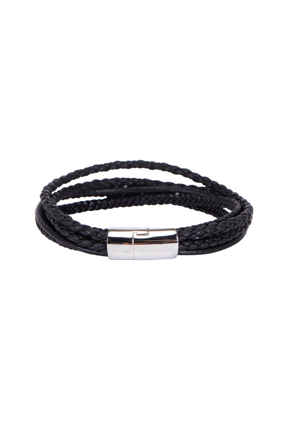 Tateossian Cobra Black Leather Multi-Strand Bracelet