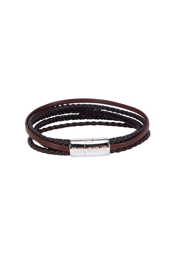 Tateossian Cobra Brown Leather Multi-Strand Bracelet