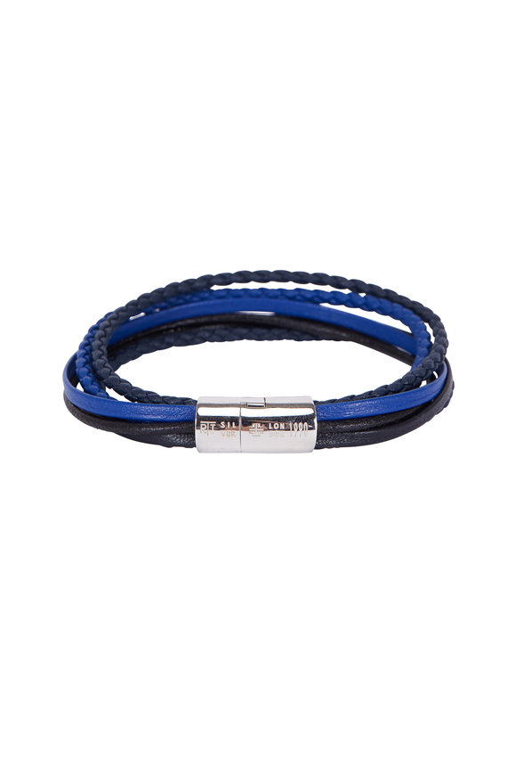 Tateossian Cobra Navy Blue Leather Multi-Strand Bracelet