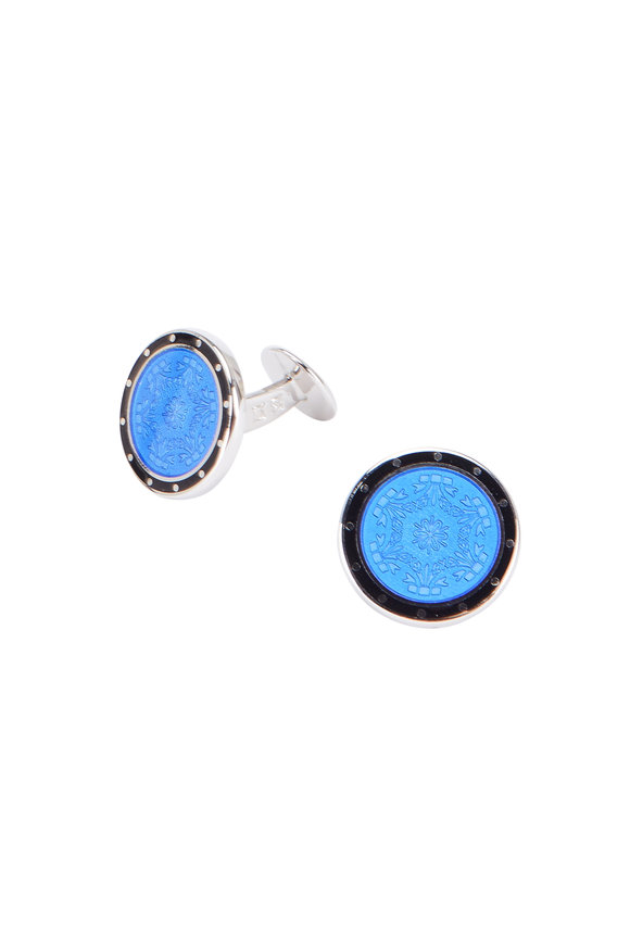 Baade II French Blue Floral Cuff Links