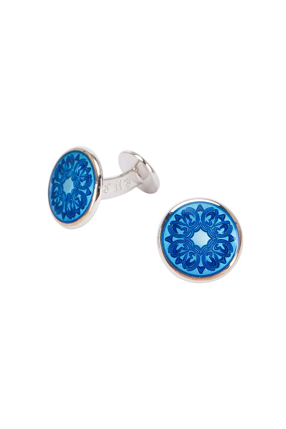 Baade II Teal Blue Floral Cuff Links