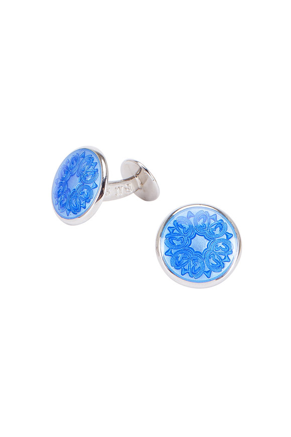 Baade II Royal Blue Floral Cuff Links