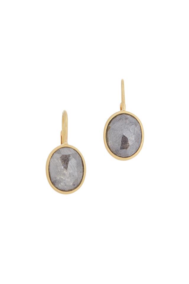 22K Yellow Gold Gray Diamond Drop Earrings