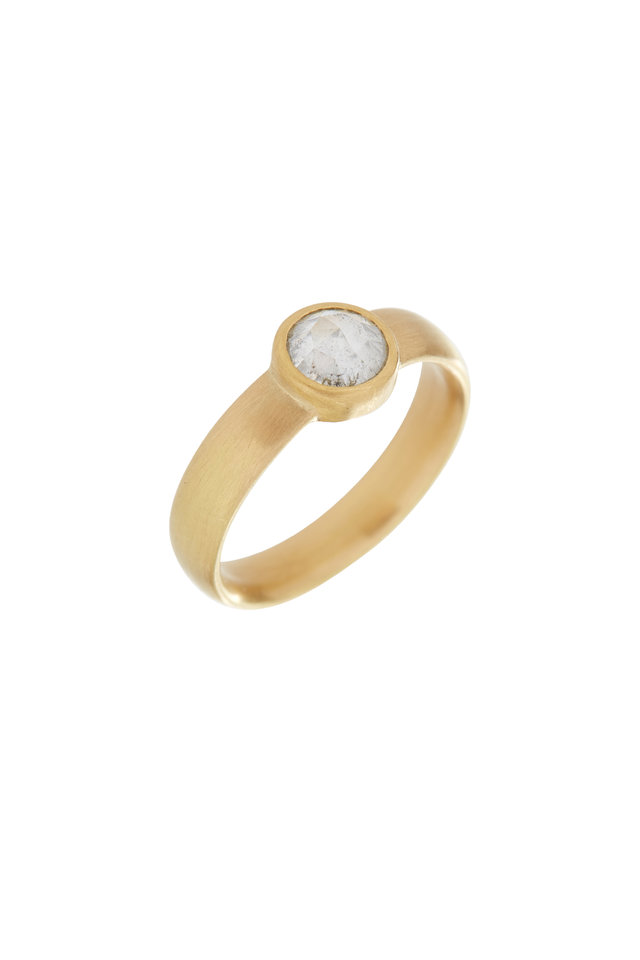 20K Yellow Gold Diamond Stackable Band