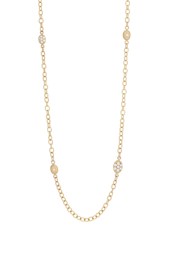 Caroline Ellen 20K Yellow Gold Pavé Diamond Station Necklace