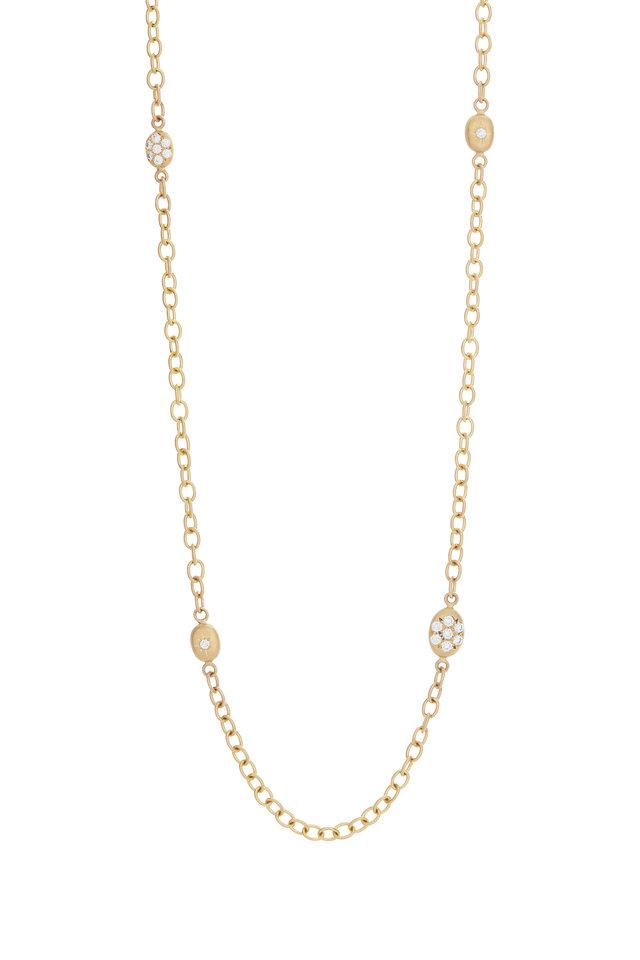 20K Yellow Gold Pavé Diamond Station Necklace