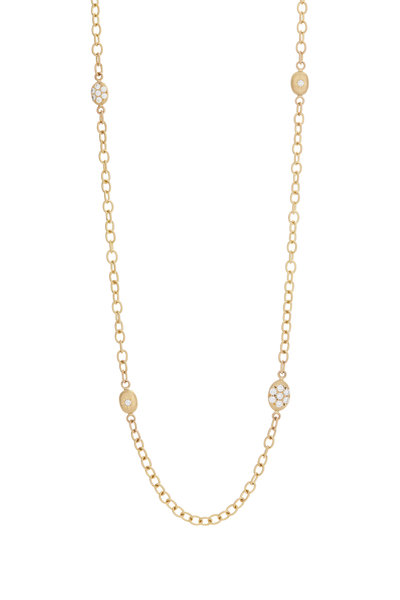 Caroline Ellen - 20K Yellow Gold Pavé Diamond Station Necklace