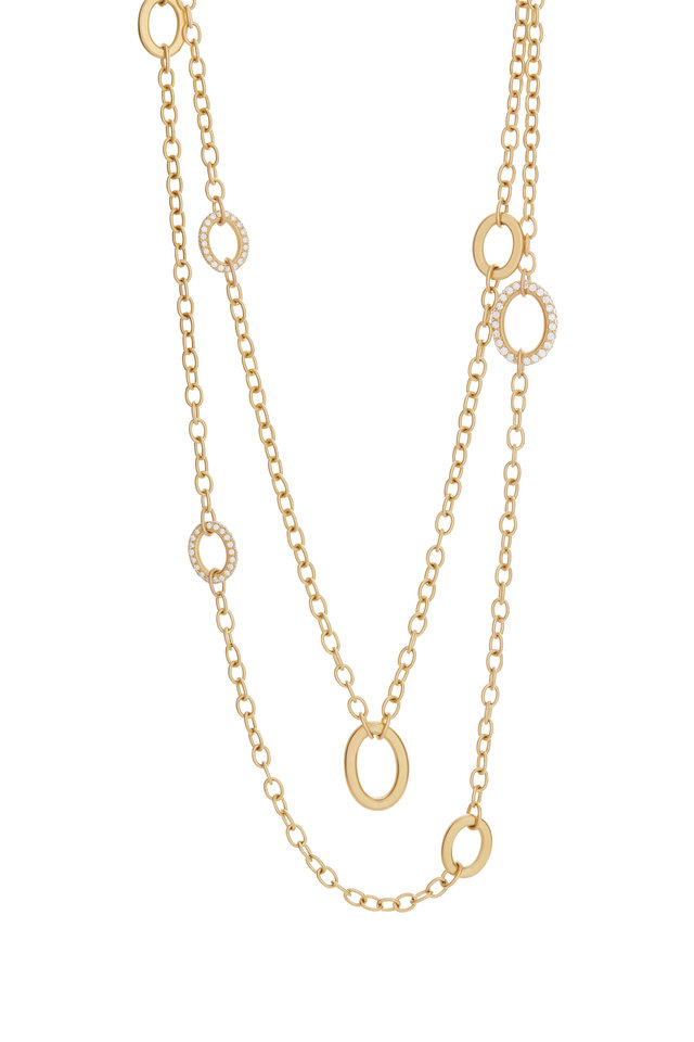 20K Yellow Gold Pavé Diamond Station Necklace
