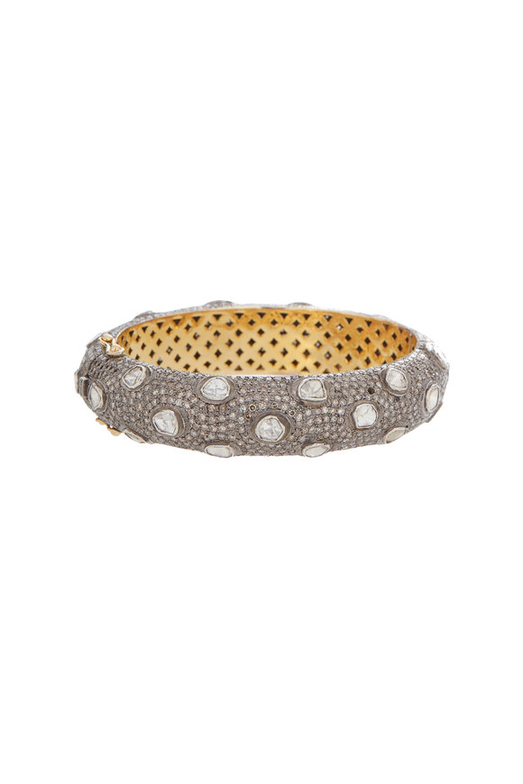 Loren Jewels 14K Gold & Silver Diamond Bangle