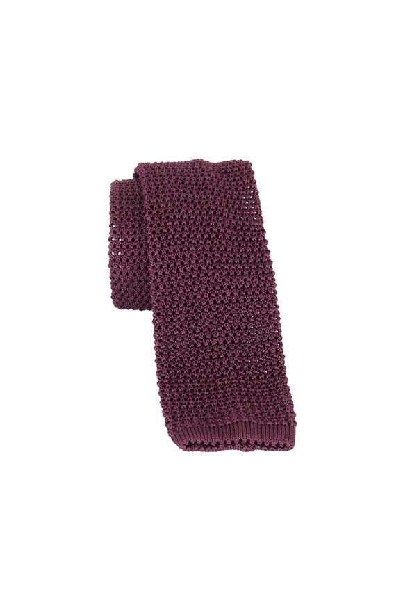 Charvet Wine Silk Knit Necktie