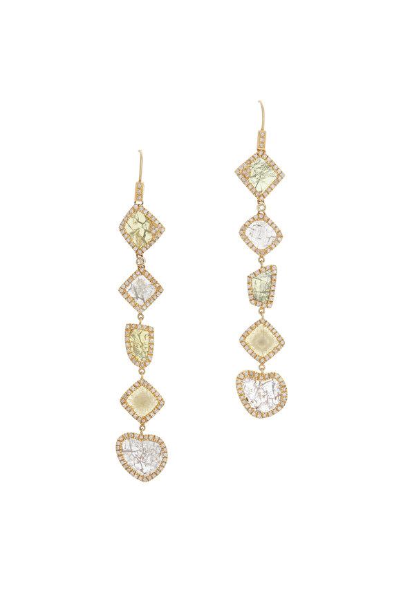 Loren Jewels 14K Gold Diamond Slice Earrings