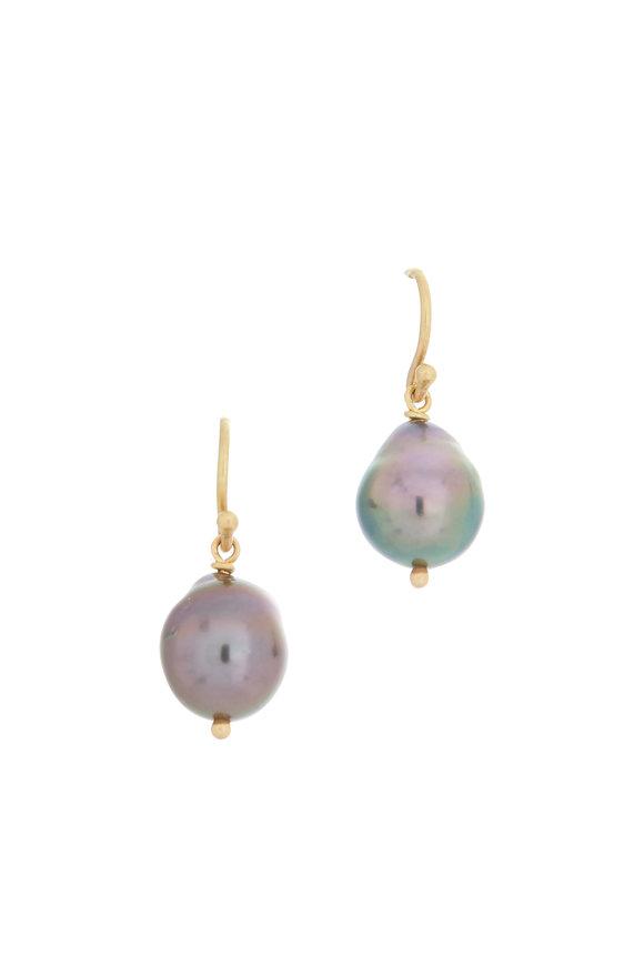 Caroline Ellen Tahitian Pearl Drop Earrings
