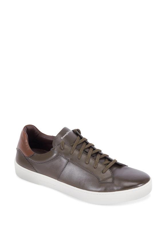Ermenegildo Zegna Vittorio Dark Green Leather Sneaker