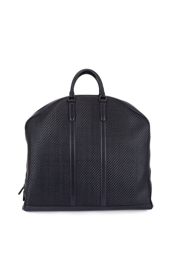 Ermenegildo Zegna Black Pelle Tessuta & Smooth Calfskin Garment Bag