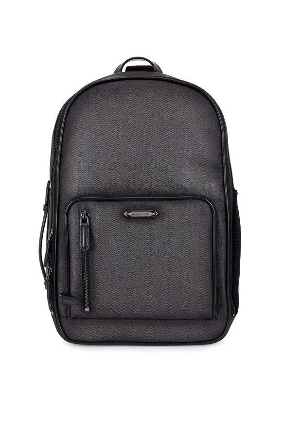 Ermenegildo Zegna Dark Gray Canvas Chevron Backpack