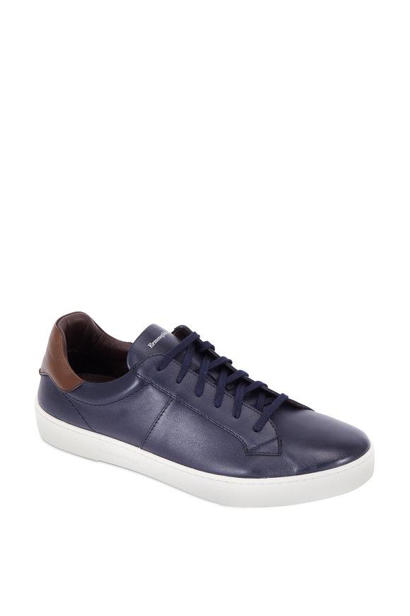 Ermenegildo Zegna Vittorio Navy Blue Leather Sneaker