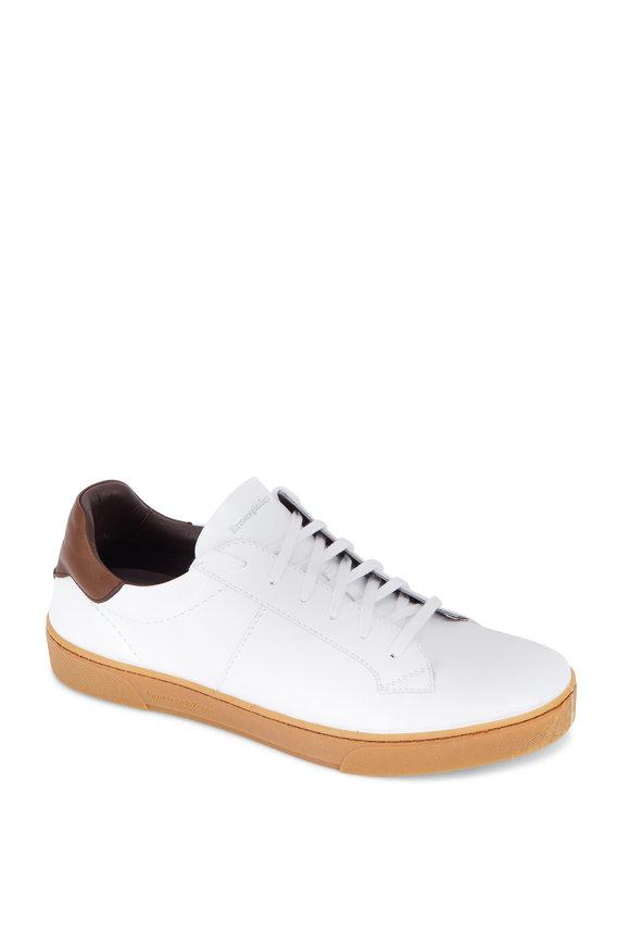 Ermenegildo Zegna Vittorio White Leather Sneaker