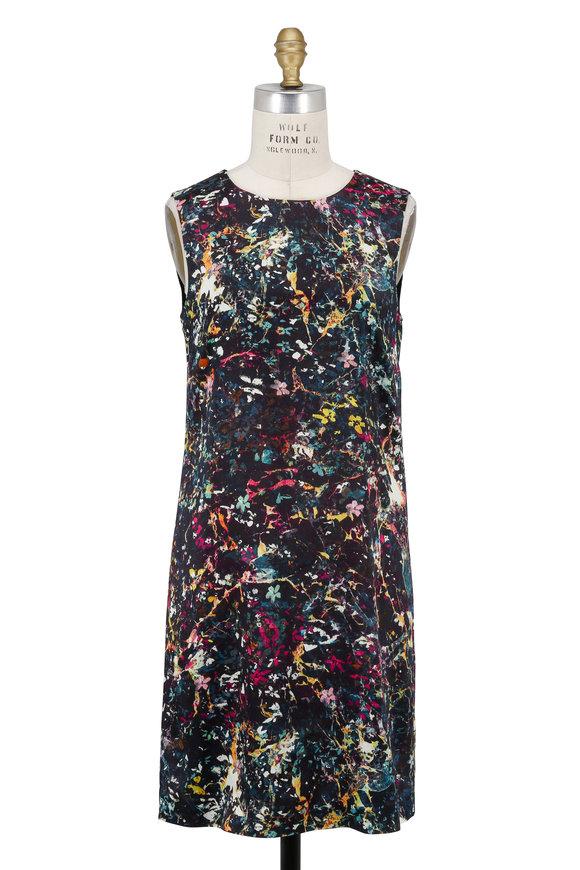M Missoni Black Multicolor Print Sleeveless Shift Dress