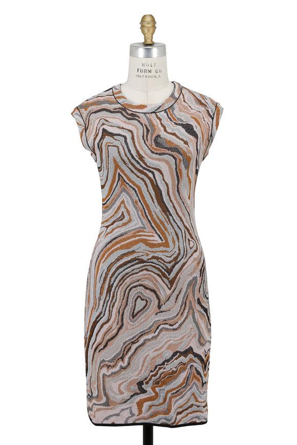 M Missoni Beige Swirl Print Cap Sleeve Mini Dress
