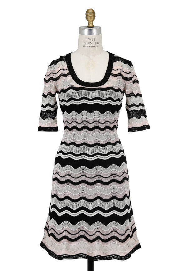 M Missoni Black & Beige Zig-Zag Knit Elbow Sleeve Dress