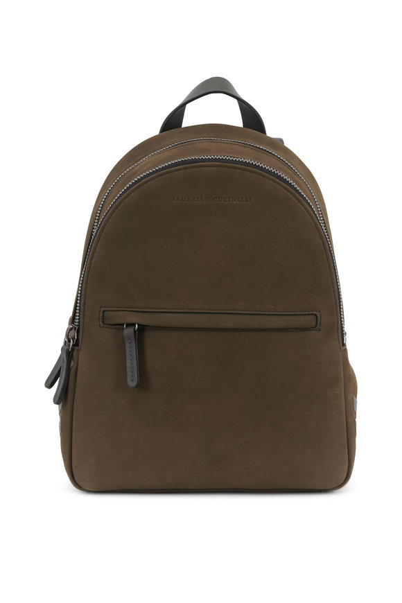 Brunello Cucinelli Militray Leather Front Zip Small Backpack