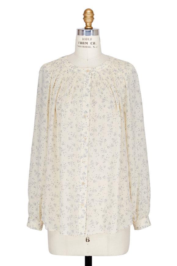 Vince Sheepskin Ivory Silk Floral Print Smocked Blouse