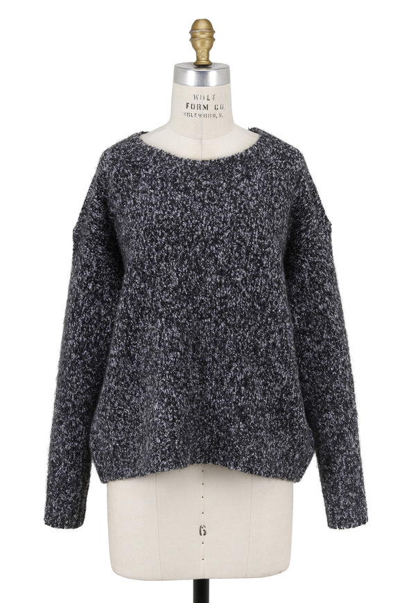 Vince Black Multi Lofty Marled Crewneck Sweater