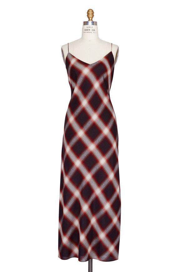 Vince Red Dyed Ombré Plaid Slip Dress
