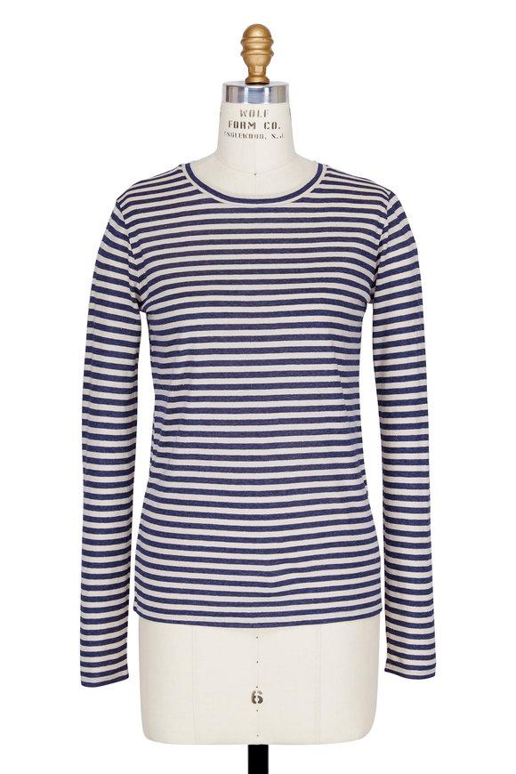 Vince Natural & Coastal Midi-Striped Long Sleeve T-Shirt