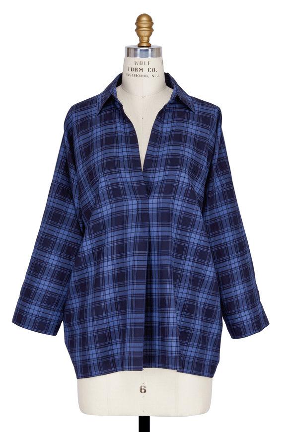 Vince Coastal Blue Plaid Oversized Pullover Blouse