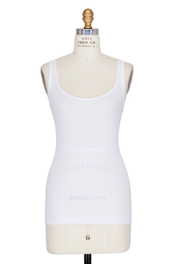 Vince White Ribbed Modal Scoop Neck Tank