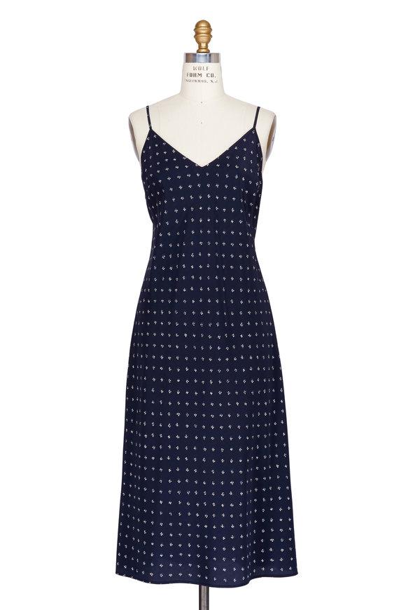 Vince Coastal Blue Silk Dot Printed Cami Dress