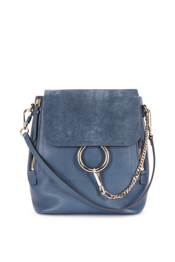 Chloé Faye Silver Blue Leather & Suede Backpack