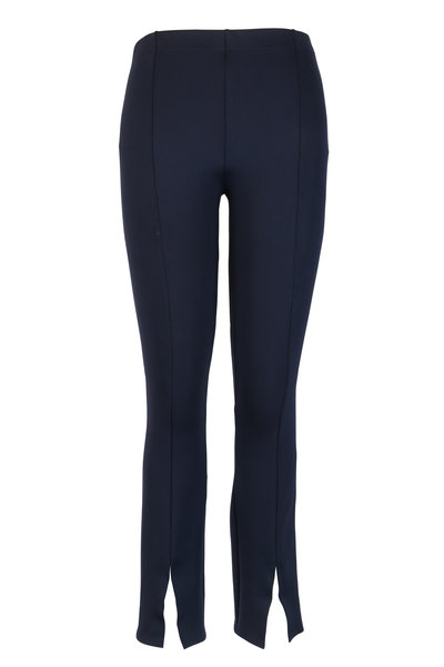 The Row - Thilde Navy Blue Front Slit Pant