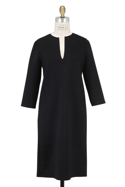 The Row - Selmac Black Split Neck Elbow Sleeve Dress