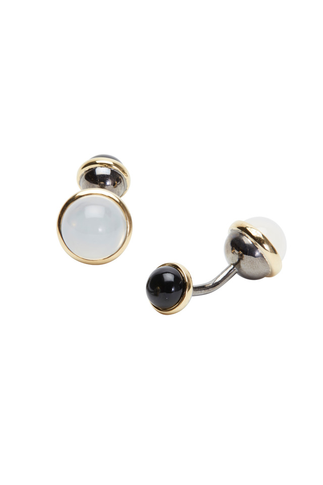 Gold & Silver Moon Quartz Bauble Cuff Links