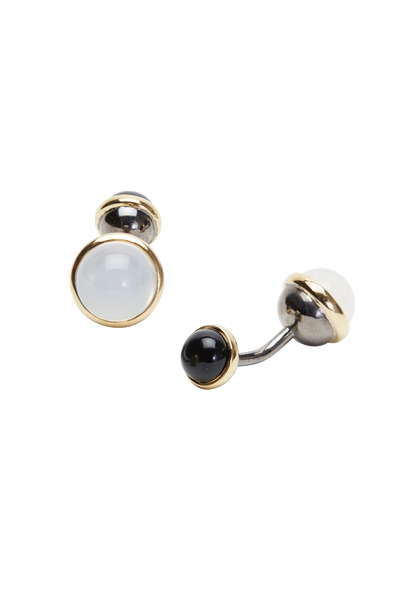 Syna - Gold & Silver Moon Quartz Bauble Cuff Links