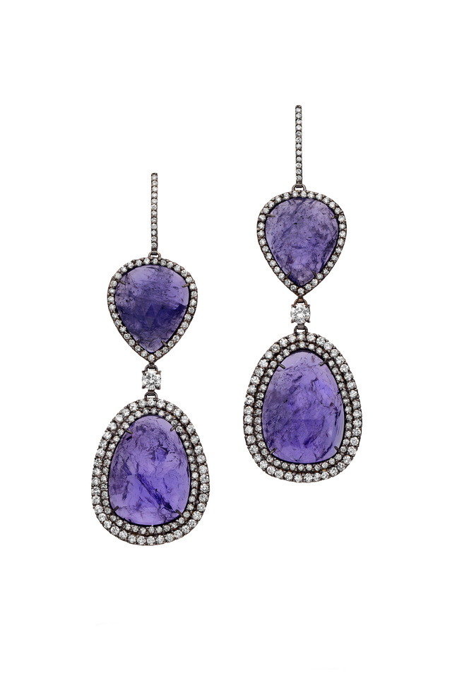 White Gold Tanzanite & Diamond Earrings