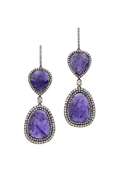 Kimberly McDonald - White Gold Tanzanite & Diamond Earrings