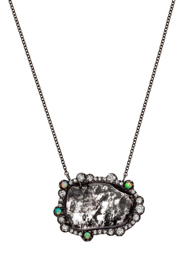 Gold Black Diamond Slice Crystal Opal Pendant