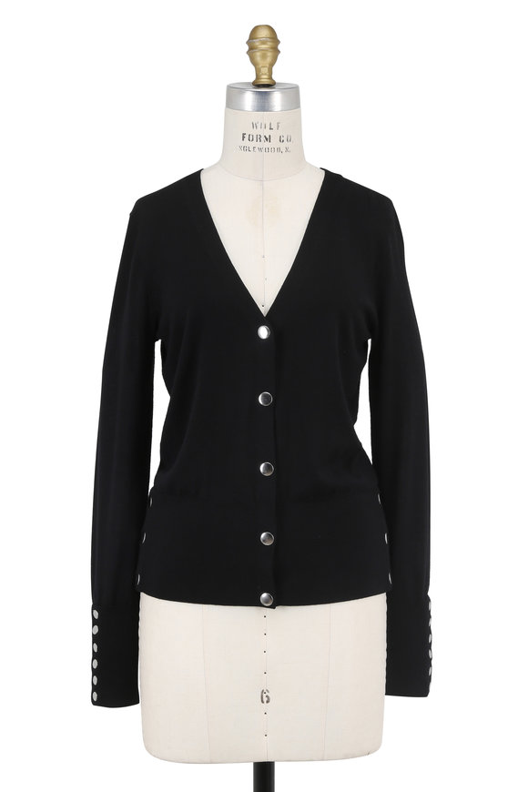 Michael Kors Collection Black Merino Wool Button-Snap Sweater