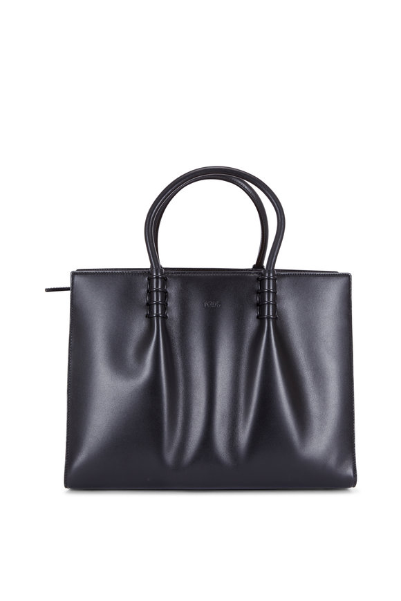 Tod's Black Smooth Leather Accordian Tote